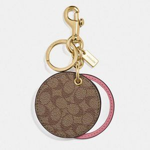 Coach Mirror Bag Charm In Signature Canvas Pink
